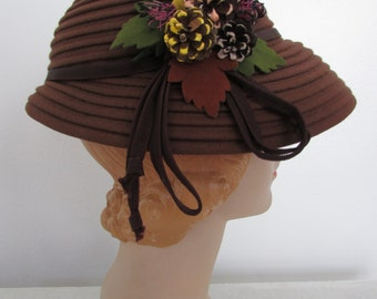 1940s coco brown felt hat | vintage 40s brown hat | Himelhoch's hat | autumn hat | medium | The Mollie Dress
