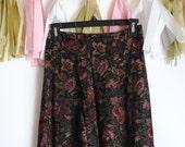 Vintage floral print midi skirt / High waist print skirt, small