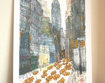 CHRYSLER BUILDING NYC, New York Taxi Art, Signed Limited Edition Print, Watercolor Painting, Clare Caulfield, New York City Diner Manhattan