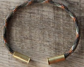 Lizard Camo Bullet Casing Bracelet recycled .22lr casings gray black orange white paracord wire BRZN