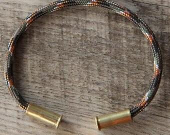 Lizard Camo Bullet Casing Bracelet recycled .22lr casings gray black orange white paracord wire BRZN