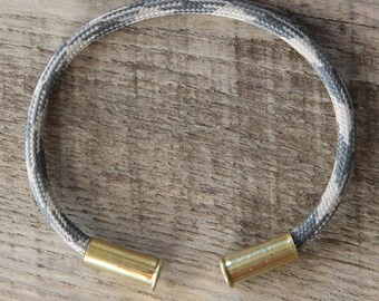 Sand Camo Bullet Casing Bracelet recycled .22lr casings tan gray paracord wire BRZN