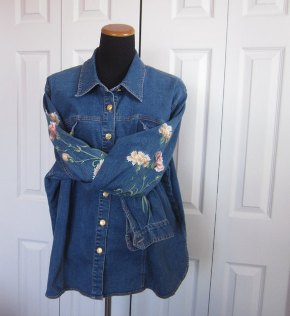 Vintage floral embroidered denim jacket womens plus size x