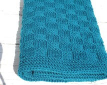 MADE TO ORDER.  Teal Baby Blanket - Basketweave Children Blanket - Unisex Baby Travel Blanket - Teal Baby Afghan - Children Knitted Blanket