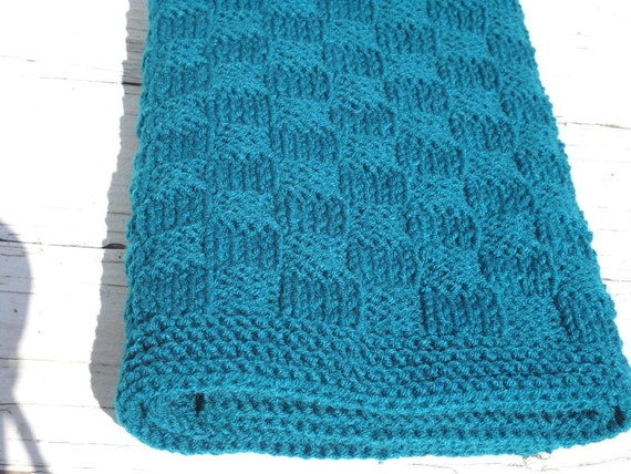 Teal Baby Blanket Hand Knit Basketweave Children Blanket
