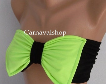 Neon Green Bow Bandeau Bow Top Summer Fashion