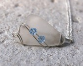 Wire Wrapped Sea Glass Necklace - Beach Glass Jewelry - Blue and Silver Pendant Necklace - Wire Wrapped Jewelry Handmade - Recycled Jewelry
