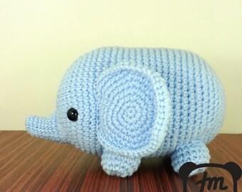 Maxi Light Blue Elephant Amigurumi Plush