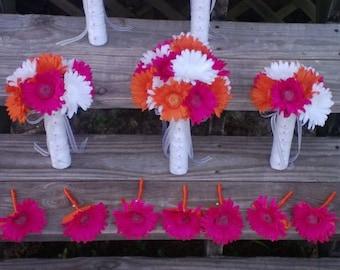 15 Piece Orange Fuschia White Daisy Bridal Bouquet Wedding Bouquet Set, Orange bouquet, Orange Daisy Bouquet, Fuschia daisy Bouquet