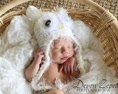 Crochet Fuzzy Owl Hat, White, Baby Photo Prop, Owl hat, Winter Hat, Newborn, 0-3 months and 6 months