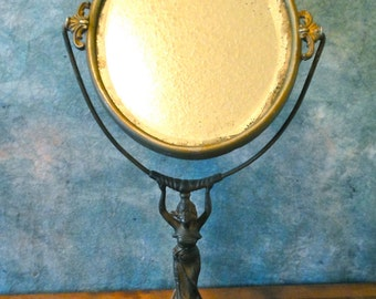 Beautiful Antique Art Nouveau Lady Vanity Oval Bevelled Mirror