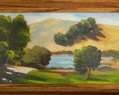 Boronda Lake, California landscape original plein air oil painting 13x7 framed