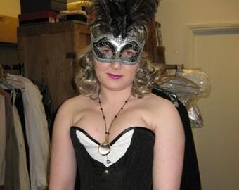 Black and white waistcoat overbust longline corset