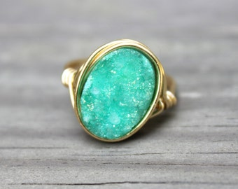 Turquoise Druzy Statement Ring