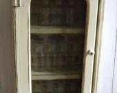 Vintage Handmade Farm House Kitchen Yellow Small Wood Cupboard Primitive Cabinet Spice Rack Wall Shelf  Screen Door w Antique Ad Decoupage