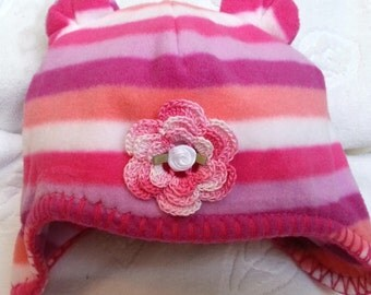 Girls Baby Infant Toddler  Fleece Pink Purple Striped Hat  with Bear Ears - Handmade Irish Rose - Sizes 6-12, 18-24 months