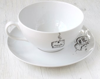 "Alice in Wonderland ""Drink Me"" Teacup and ""Eat Me"" Saucer set (( the original ))"