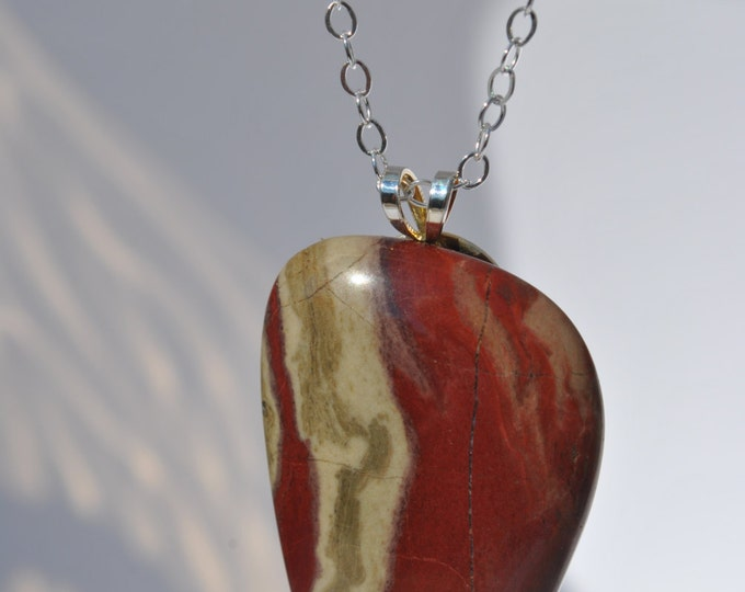 Red River Jasper Stone on Sterling Silver 18 inch chain