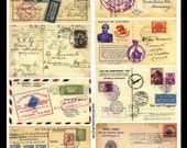 Vintage Postcards - Collage Sheet - Collage, Altered Art, Visual Journals, ATCs, Decoupage
