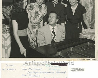 Elliot Lawrence jazz pianist by piano with beauty queens antique photo