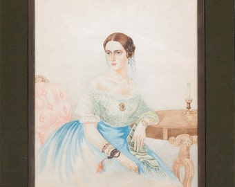 Natalia Pushkina wife of poet Pushkin antique watercolor painting Russia