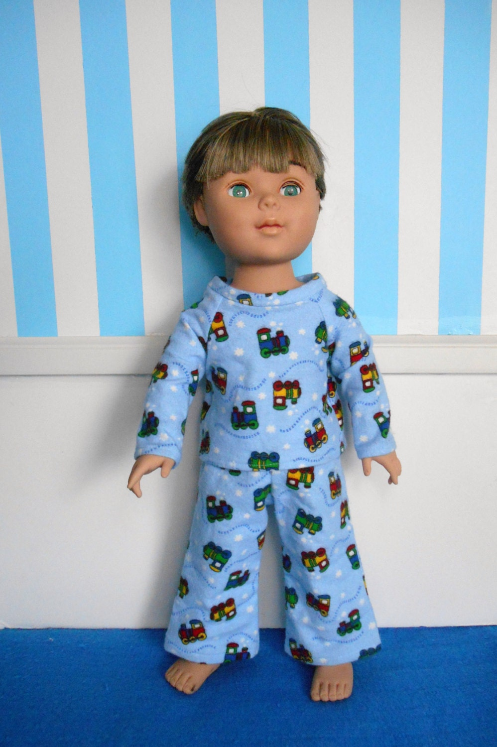 18 Inch Doll Clothes Boy Doll Clothes Flannel Pajamas Blue