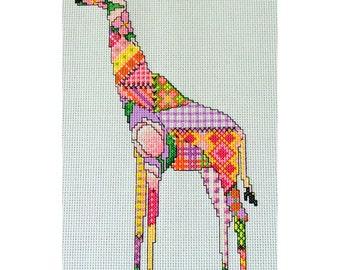 Patchwork Giraffe Cross Stitch Pattern, Instant download PDF Chart