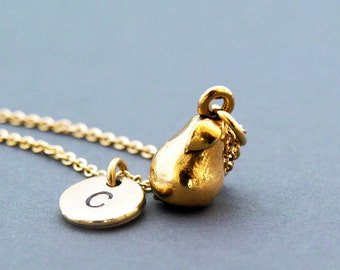 Pear charm necklace, fruit charm, initial necklace, initial hand stamped, personalized, antique gold, monogram