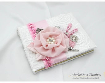 READY TO SHIP Wedding Lace Guest Book Custom Jeweled Bridal Flower Brooch Guest Books in White and Pink with Flowers, Jewels, Crystals