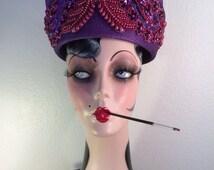 Exotic Vintage Hat -- Rich Purple Color and Wild Design