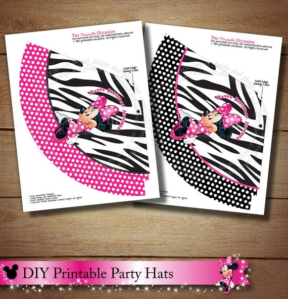 DIY Printable Zebra Minnie Mouse Party Hats, Set Of Two
