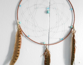 Brown Dreamcatcher - Turquoise Magnesite Dream Catchers - Native American Wall Decoration - Southwestern, Tribal, Hippie, Boho style
