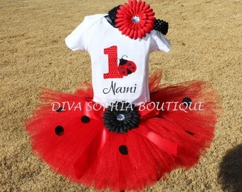 Lady Bug Tutu Set - Birthday Tutu Set Personalized