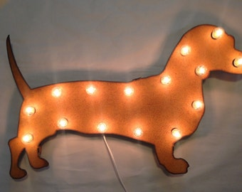 WEINER DOG DACHSHUND Lighted Marquee Sign made of Rusted Recycled Metal Vintage Inspired