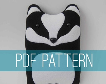 DIY Badger Pattern Woodland Pillow Plush - Fleece Fabric Animal Plushie - Do It Yourself Craft for Children and Adults - Make Your Own Toy