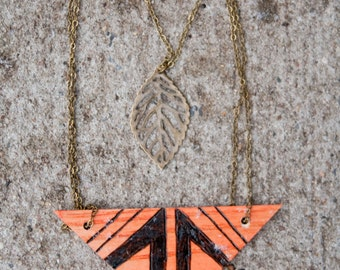 Triangle Necklace Woodburning-Made to order