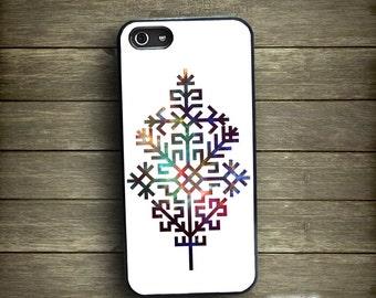 White iPhone 5 case, iPhone case ethnic, Austra tree Latvian folk sign, Tree of Life iPhone case, by Kaladu