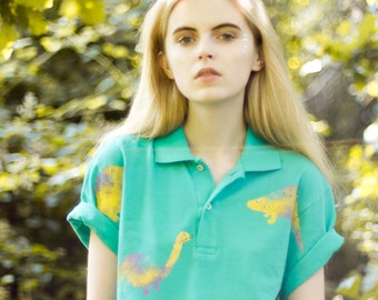 Hand Painted Dinosours Polo Shirt