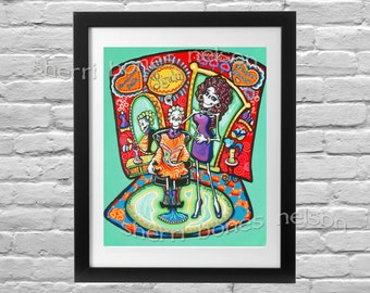 Custom Stylist Gift Rockabilly Boutique Art Print. Skeleton Pinup Girl Day of the Dead Hairdresser Salon Art. Personal