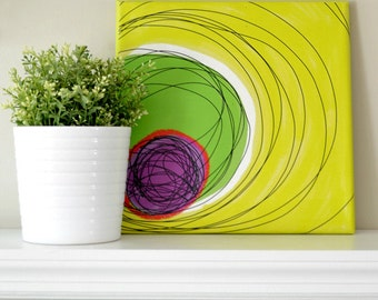 CANVAS ART PRINT Mid Century Style in Yellow, Hot Green, Red and Purple