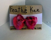 Super Soft White Headband with a Pink Floral Print Bow Upcycled for Baby Girls - FeathandKee