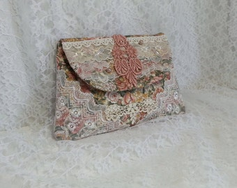 Shabby Chic Clutch - Lace Wallet - Bridal Clutch - Bridesmaid Clutch - Small Lace Hand Bag - Lace Make Up Bag - French Inspired