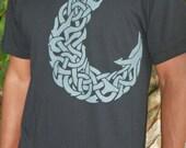 Maui's Magic Fish hook shirt - Polynesian myth tee - Gray screenprint on soft cotton tees. 13 T-Shirt colors. Knotwork. Fractal inspired.