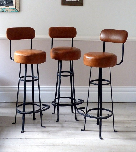 Set of Three European Leather Bar Stools 1950s
