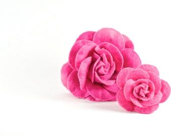 Pink Dog Collar Flower in Hot Pink - Detachable Removable Dog Collar Rose Accessory
