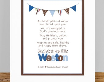 """Personalized Boys Baptism Prayer Wall Art with Bunting - 8x10"""" PRINT - Baptism, Christening, Baby Dedication Gift -  Your choice of Colors"""