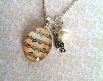 Sheet Music Necklace, Music Notes Necklace, Musical Jewelry, Musical Notes Jewelry, Treble Clef, Vintage Inspired Antique Sheet Music (PINK)