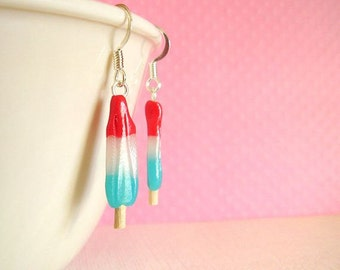 Bomb Pop Earrings Polymer Clay Red White Blue Womens 4th July Earrings Summer Girls Cute Popsicle Ice Cream