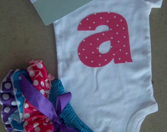 Newborn Baby Girl Outfit, Take Home Outfit, Personalized Initial, Satin Bloomers, bodysuit Set