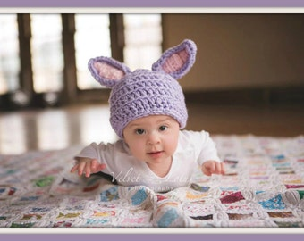 Purple Chunky Bunny Hat. Easter Holiday Theme. Photo Prop. Preemie to Toddler Sizes